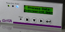 "GeNUBox 100C LCD showing ""Process Data Engineering GmbH"""